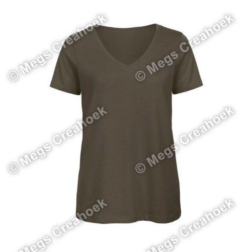 Dames shirt v-hals - Khaki Green