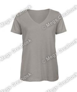 Dames shirt v-hals - Light Grey