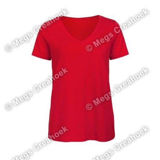 Dames shirt v-hals - Red